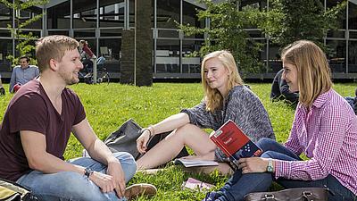 Studierende sitzend im grünen Gras