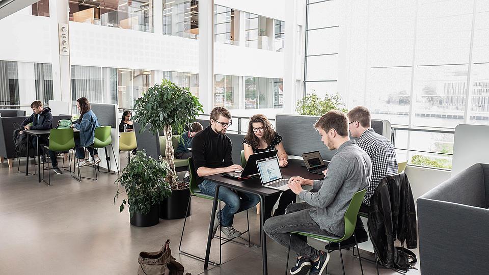 Studenten sitzen am Tisch mit Laptops und bearbeiten Aufgaben.