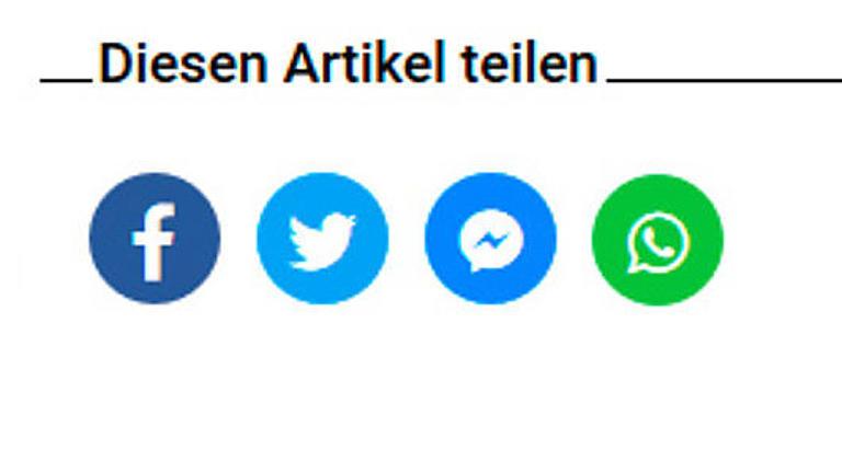 Abbildung der Teilen-Buttons bei studienwahl.de: facebook, twitter, facebook messenger, telegram, whatsapp