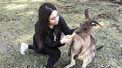 Nika Djabarian füttert ein Känguru.