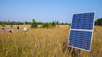 Detailaufnahme von Solarplatten.