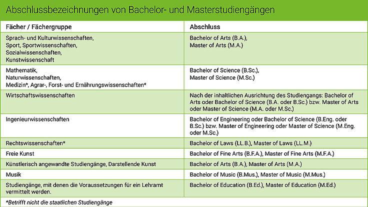 Die Grafik zeigt, welches Abschlussbezeichnungen es an deutschen Hochschulen gibt.