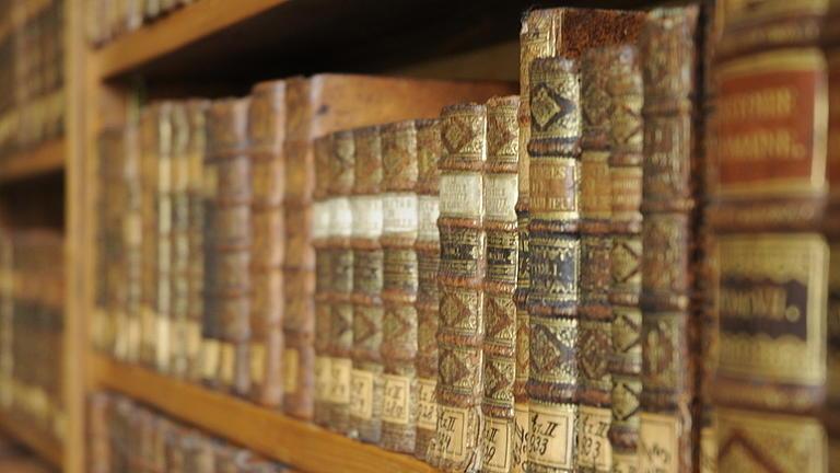In einem Regalteil eines Holzregals stehen sehr alte Bücher in einer Reihe und mit dem Buchrücken zum Betrachtenden.