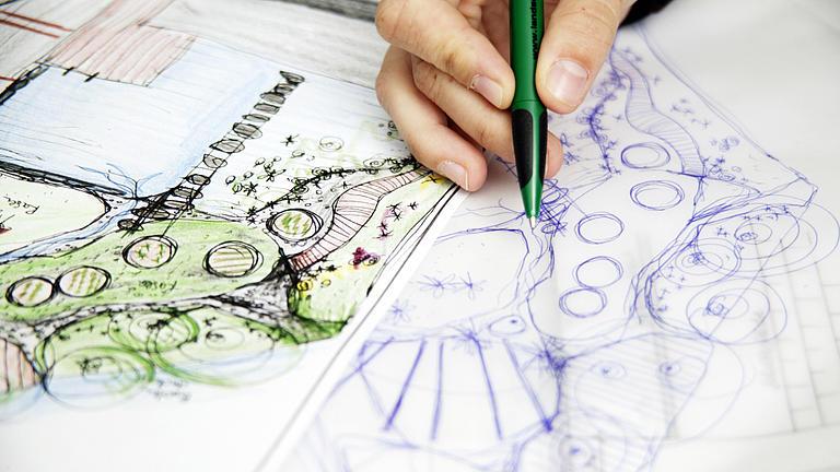 Skizzen einer Gartengestaltung.