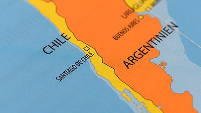 Der Ausschnitt einer Karte zeigt Chile und Argentinien.