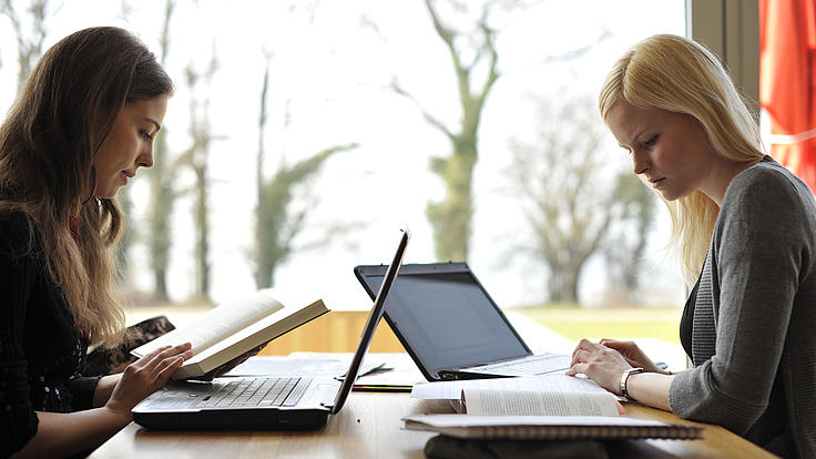 zwei Studentinnen am Lernen mit Laptop und Bücher