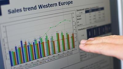 Eine Hand deutet auf einem Computermonitor, dort werden Verkaufszahlen mit verschiedenen Grafiken und Balkendiagrammen dargestellt.