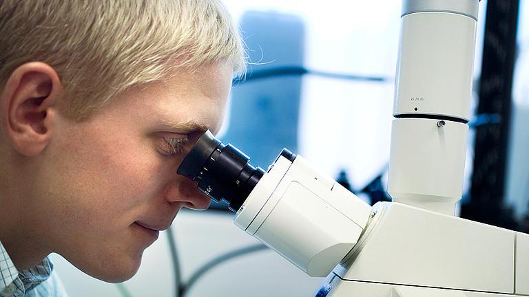 Ein Student schaut durch ein Mikroskop