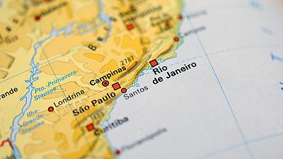 Eine Landkarte von Brasilien.