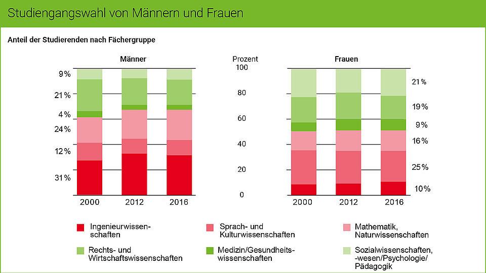 Die Grafik zeigt die Studiengangswahl von Männern und Frauen.