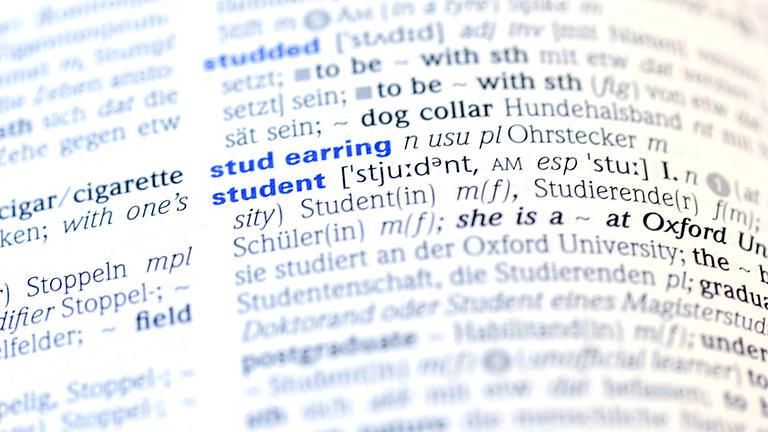 Nahaufnahme einer Doppelseite eines Deutsch-Englischen Wörterbuchs. Der Ausschnitt zeigt das Wort