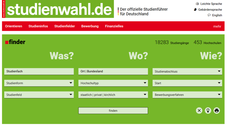 Screenshot des finders auf studienwahl.de.