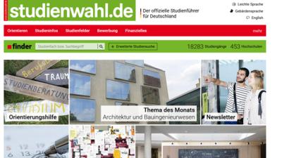 Screenshot der Startseite von studienwahl.de.