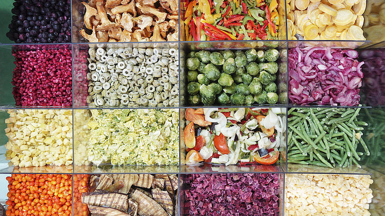 Eine Sortierung mit 16 Plastikfächern, in denen unterschiedliche Gemüsesorten eingefüllt sind.