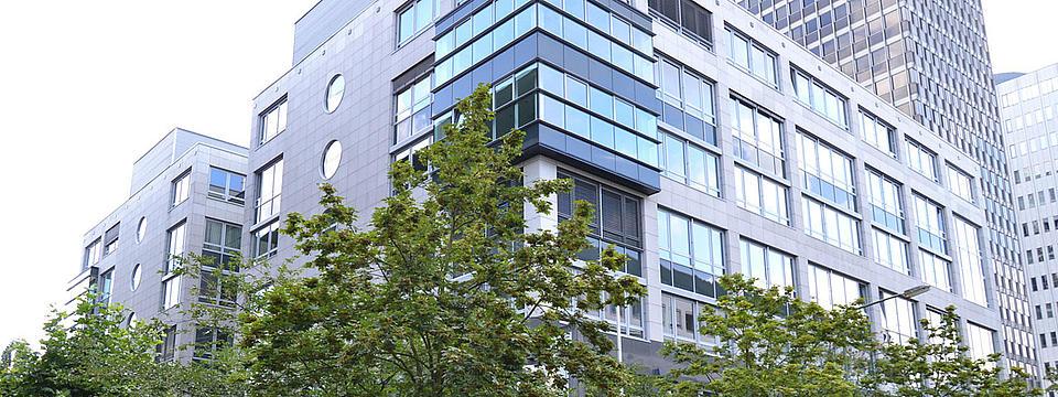 Aussenansicht des Campus in Frankfurt.