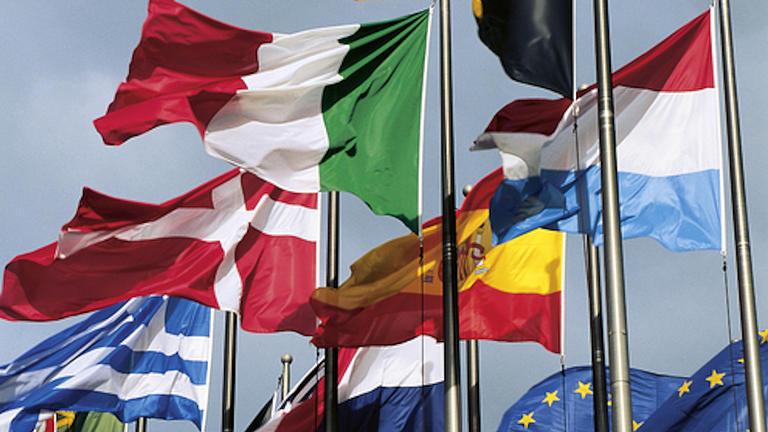 Verschiedene Flaggen von Ländern der Europäischen Union wehen an Fahnenmasten im Wind
