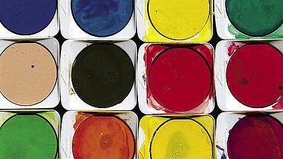 Ein Set Wasserfarben.