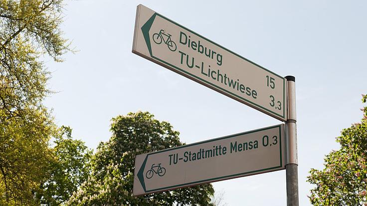 Aufnahme aus der Froschperspektive von zwei Hinweisschildern für Radfahrer, die in verschiedene Himmelsrichtungen weisen.