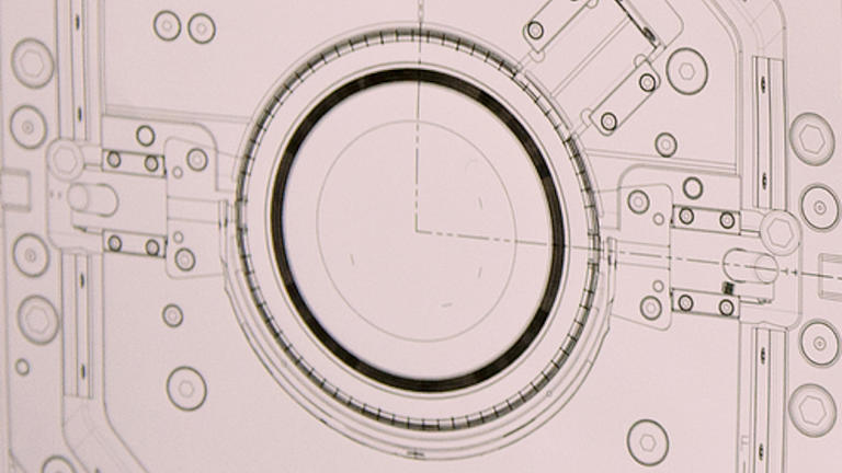 Detailaufnahme einer technischen Zeichnung.