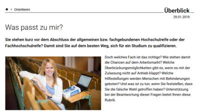 Screenshot einer Seite auf studienwahl.de.